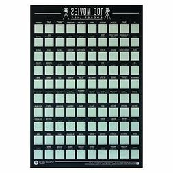 Gift Republic 100 Movies Scratch Off Bucket List Poster Film