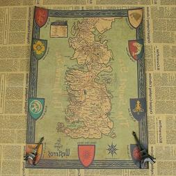 Game of Thrones Retro World Map Kraft Paper Movie Poster Vin