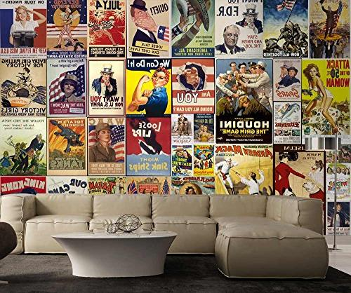 wall26 and Stick Wallpapaer - American Posters with War and Movie | Large
