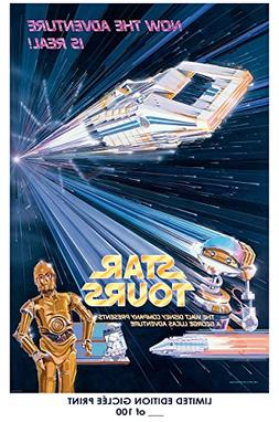 RARE POSTER thick STAR TOURS disney 1950s star wars REPRINT