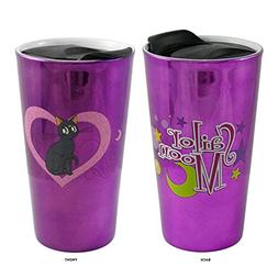 Sailor Moon OFFICIAL Luna Foil-Printed Ceramic Travel Mug, 1