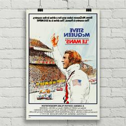 Steve McQueen Le Mans Movie Poster Car Racing Canvas Art Pri