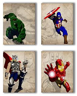 Super Hero Poster Set of 4-8x10 Marvel Wall Prints-Captain A