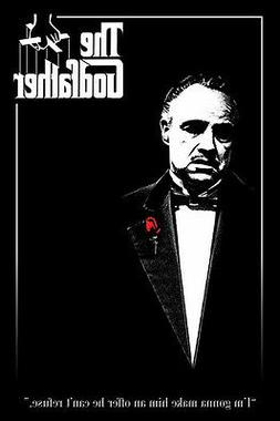 The Godfather red rose 24x36 poster Don Vito Italian mob Ico