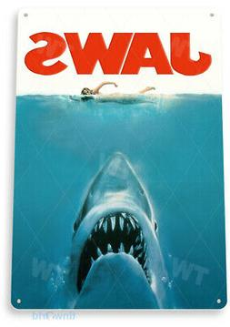 TIN SIGN Jaws Movie Poster Metal Décor Wall Art Theater Sto