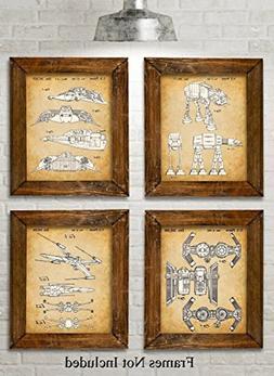 Original Star Wars Vehicles Patent Art Prints - Set of Four